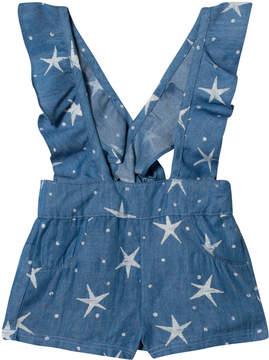Billieblush Blue Star Print Chambray Dungarees