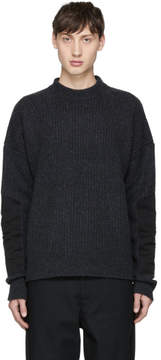 Diesel Black Gold Grey Wool Mock Neck Sweater