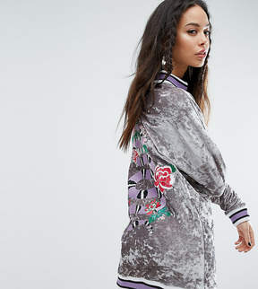 Jaded London Tall Oversized Embroidered Velvet Sweater Dress With Rib Detail