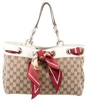 Gucci GG Canvas Positano Scarf Tote - BROWN - STYLE