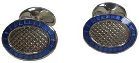 Tiffany & Co. Sterling Silver Blue Inlaid Enamel Cuff Links