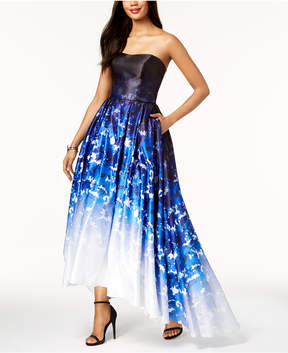 Betsy & Adam Ombre Printed Strapless Ballgown