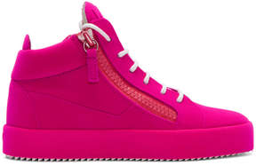 Giuseppe Zanotti Pink Flocked May London High-Top Sneakers