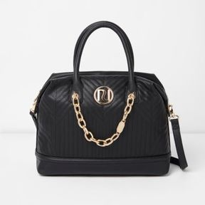 River Island Womens Black quilted chain detail bowler bag