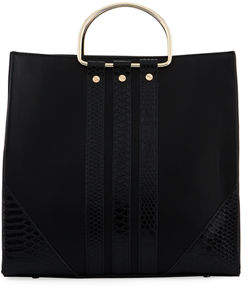 Neiman Marcus Loop Tall Faux Satchel Bag