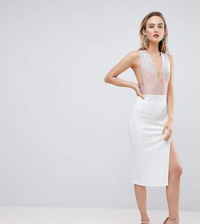 Asos Tall TALL Deep Plunge Ombre Sparkle Bodycon Midi Dress