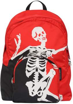 Alexander McQueen Dancing Skelton Printed Nylon Backpack