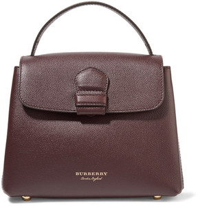 Burberry - Small Checked Twill-paneled Textured-leather Tote - Burgundy