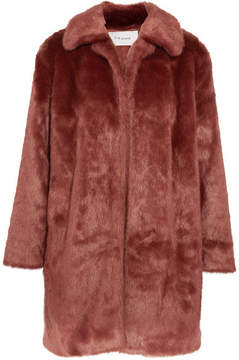 Frame Faux Fur Coat - Brick