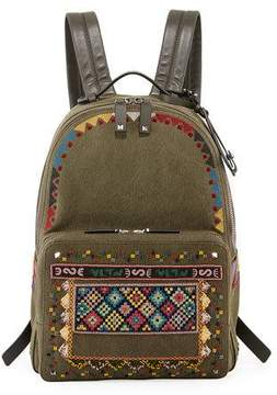 Valentino Men's Beaded Canvas Backpack