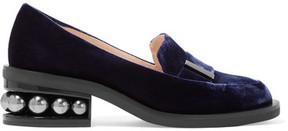 Nicholas Kirkwood Casati Embellished Velvet Loafers - Navy