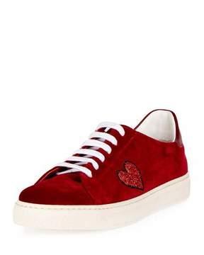 Anya Hindmarch Velvet Glitter Heart Sneaker, Red