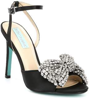 Betsey Johnson Blue by Heidi Rhinestone Bow Ankle Strap Peep-Toe Dress Sandals