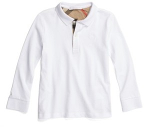 Burberry Boy's 'Mini' Long Sleeve Pique Polo