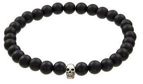 Jan Leslie Matt Tigers Eye Bracelet with Sterling Silver Skull
