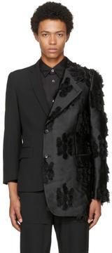 Comme des Garcons Black Asymmetric Silk Jacquard Blazer