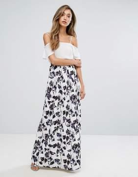 Club L Printed Scuba Prom Maxi Skirt