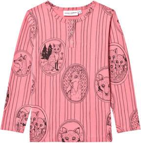 Mini Rodini Pink Fox Print Grandpa T-Shirt