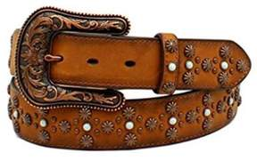 Ariat A1522608-M 1.5 in. Womens Leather Studded Stone Western Belt, Tan - Medium
