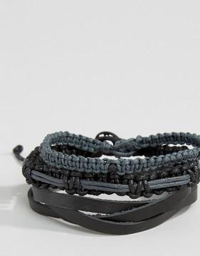 ICON BRAND Woven Bracelet Pack In Black