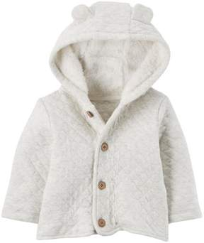 Carter's Sherpa Jacket Neutral Oatmeal Quilted Heather
