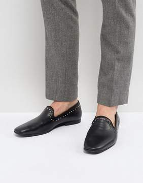 Zign Shoes Leather Studded Detail Loafers