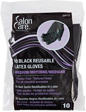 Salon Care Reusable Black Medium Latex Gloves