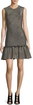 A.L.C. Kilmer Crewneck Sleeveless Metallic Knit Mini Dress