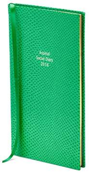 Aspinal of London Social Diary In Grass Green Lizard