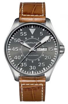 Hamilton Men's Khaki Aviation Automatic Leather Strap Watch, 46Mm