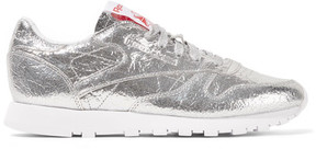 Reebok Classic Metallic Crinkled-leather Sneakers - Silver