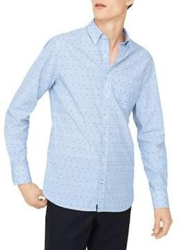 MANGO Polka-Dot Accent Cotton Pinstriped Button-Down Shirt