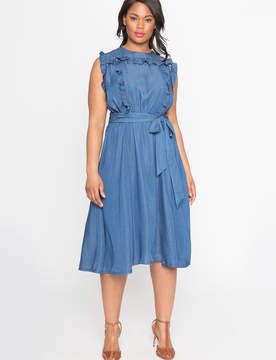 ELOQUII Sleeveless Ruffle Shirt Dress