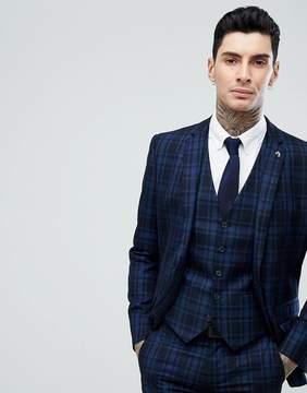 Farah Skinny Suit Jacket In Check