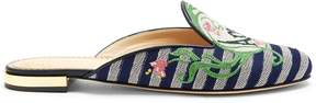 Charlotte Olympia Embroidered backless canvas loafers