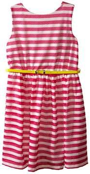 Us Angels Scuba & Mesh Sleeveless Bow Back Dress w/ Belt & Full Skirt (Big Kids)