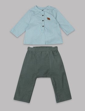 Marks and Spencer 2 Piece Gingham Shirt & Trousers Outfit