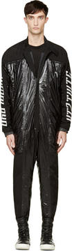 Kokon To Zai Black Padded Nylon and Leather Boiler Suit