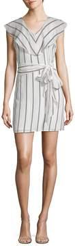 Collective Concepts Women's Flutter Sleeve Striped V-Neck Dress
