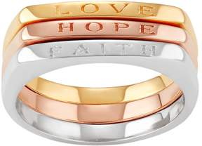 Journee Collection Tri Tone Sterling Silver Faith Hope Love Ring Set