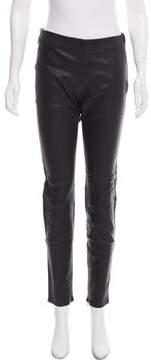 David Lerner Mid-Rise Leather Pants