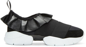 Emilio Pucci Black Ruffle Slip-On Sneakers