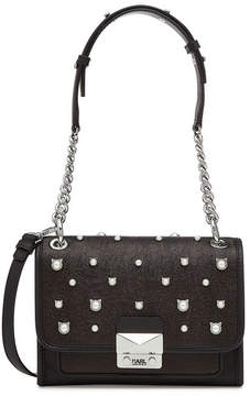 Karl Lagerfeld Cat Pearl Mini Handbag with Leather