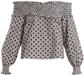 DAY Birger et Mikkelsen ANNA OCTOBER Off-the-shoulder polka-dot cotton top
