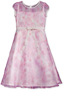 Us Angels Lavender by Illusion-Neck Floral Dress, Big Girls