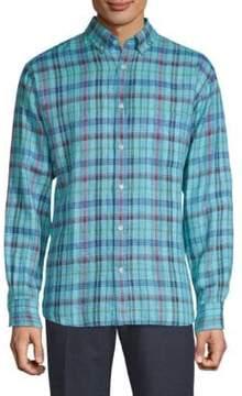 Paul & Shark Checkered Linen Button-Down Shirt