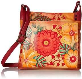 Anuschka Anna by Women's Genuine Leather Medium Crossbody Handbag | Zip-Top Organizer with External Pocket |Summer Bloom