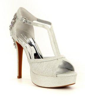 Gianni Bini Laurito Glitter Jewel Ornament Platform Dress Sandals
