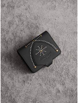 Burberry Equestrian Shield Riveted Leather Card Case - BLACK - STYLE