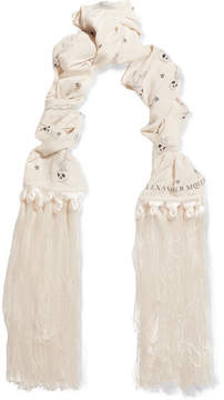 Alexander McQueen Fringed Printed Silk Crepe De Chine Scarf - White